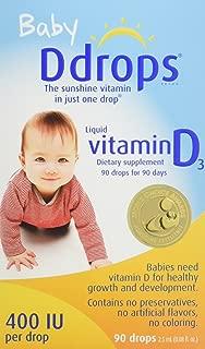 Ddrops 嬰兒維生素D3滴劑 400IU 90滴/瓶 2.5mL (0.08盎司)