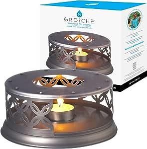 GROSCHE 优质茶壶加热器,带茶叶精简蜡烛。 适用于玻璃茶壶和其他耐热洗碗机。 开罗 GR-172