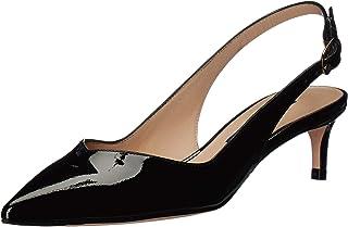 Stuart Weitzman 女士 Edith 高跟鞋,黑色漆皮,7.5 中码