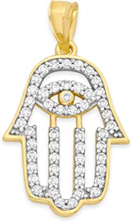 14k 纯金哈姆萨吊坠带立方氧化锆石,邪恶之眼 CZ 珠宝神之手魅力礼物送给幸福、幸运和幸运