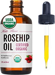 Rosehip Oil by Kate Blanc. USDA Certified Organic, 100% Pure, Cold Pressed, Unrefined. Reduce Acne . Essential Oil for Face, Nails, Hair, and Skin. Natural Moisturizer. 1-Year Guarantee 1盎司
