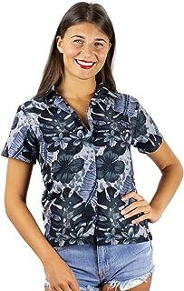 King Kameha 时尚夏威夷衬衫女式短袖前袋夏威夷印花全身花卉
