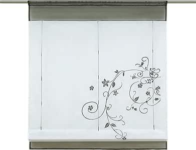 1件套透明薄纱 liftable 欧根纱刺绣厨房窗帘罗马窗口色调