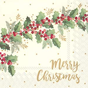 Boston International 鸡尾酒饮料纸巾 Merry Christmas Cream 5 x 5-Inches