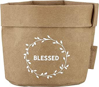 Faithworks 天然牛皮纸棕色可洗纸收纳/全套/篮子 Blessed 小号