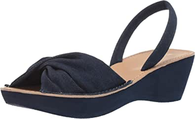 Kenneth Cole REACTION 女士 Fine Twist 防水台凉鞋 坡跟 靛蓝色 6.5 M US