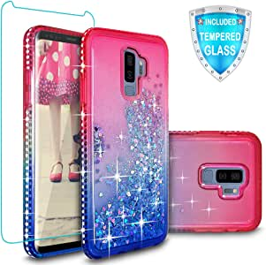 Galaxy S9 Plus 手机壳,Cellularvilla 奢华闪耀液体快沙瀑布浮动闪亮闪亮漂亮保护女孩保护套【钢化玻璃】适用于三星 Galaxy S9 Plus 粉色蓝色