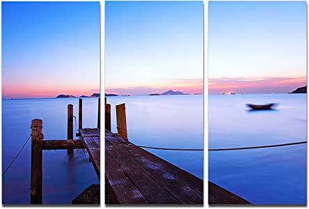 "Wooden Pier at Dusk Seascape 帆布摄影艺术墙照片 蓝色 36x28"" - 3 Panels PT8350-3P"