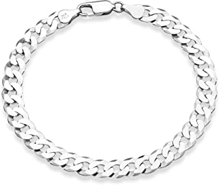 MiaBella 925 纯银意大利 7 毫米实心钻石切割古巴链式手链男女通用,7.5、8、8.5、9 英寸意大利制造