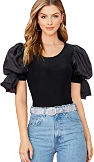 Shein 女式夏季结细节泡袖圆领女衬衫