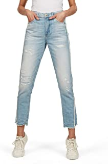G-STAR RAW 女式 3301 流苏高直筒九分牛仔裤