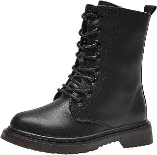 PPXID 男孩女孩皮革登山靴系带侧拉链高战靴雪地靴