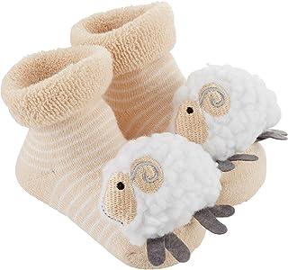 Stephan Baby 摇铃袜有 8 种设计,条纹奶油色和白色小羊,适合 3-12 个月