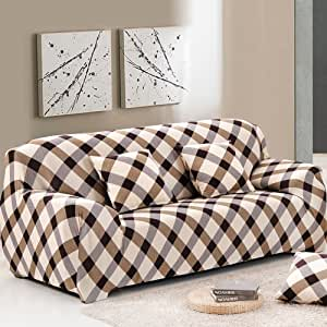 "Bluecookies 弹力沙发套 1 件涤纶氨纶面料 3 垫沙发套保护套,轻松贴合 Stripe Sofa(68""-86"")"