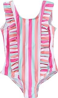 女婴泳装格子沙滩比基尼荷叶边泳装套装