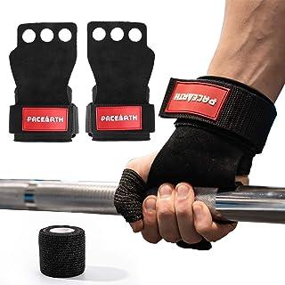 PACEARTH 3孔皮革体操手把带举重钩握带舒适的手掌保护和手腕支撑,适用于向上拉、酒吧、壶铃、向上抬起、锻炼男女