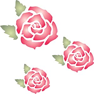 玫瑰壁画模板 - 用于绘画的可重复使用的墙模板 - *佳质量壁画艺术创意 - 用于墙壁、地板、织物、玻璃、木材等. M