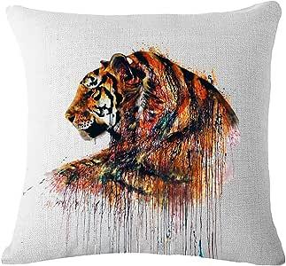 JOTOM 软棉麻抱枕套 DIY 动物靠垫套 适用于家居装饰沙发沙发 45.72 x 45.72 厘米