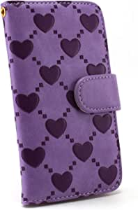 白色坚果 ハートエンボス 保护套保护壳翻盖式 紫色 1_ iPhone7