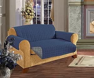 优雅舒适绗缝家具保护套,宠物狗儿童,2 条领带停止滑落,超细纤维如埃及棉 *蓝/灰色 Love Seat B010R7N3D6