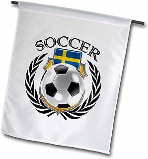 "3drose carsten reisinger illustrations–插图–瑞典足球带风扇 Crest–旗帜 18"" x 27"""