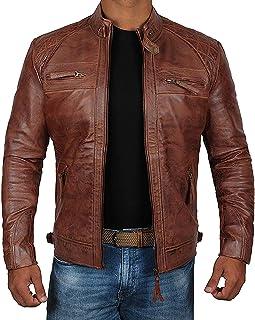 decrum 摩托车夹克男式–仿旧皮革机车夹克