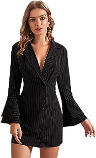 MAKEMECHIC 女式优雅格子包腰长袖青果领长款外套