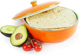 Uno Casa 陶瓷Tortilla 加热器和服务器 - Tortillas 适用于派对,家居嘉年华 - 可用作煎饼和薯片保具 - 可用于微波炉,烤箱,尺寸为 8.5 英寸