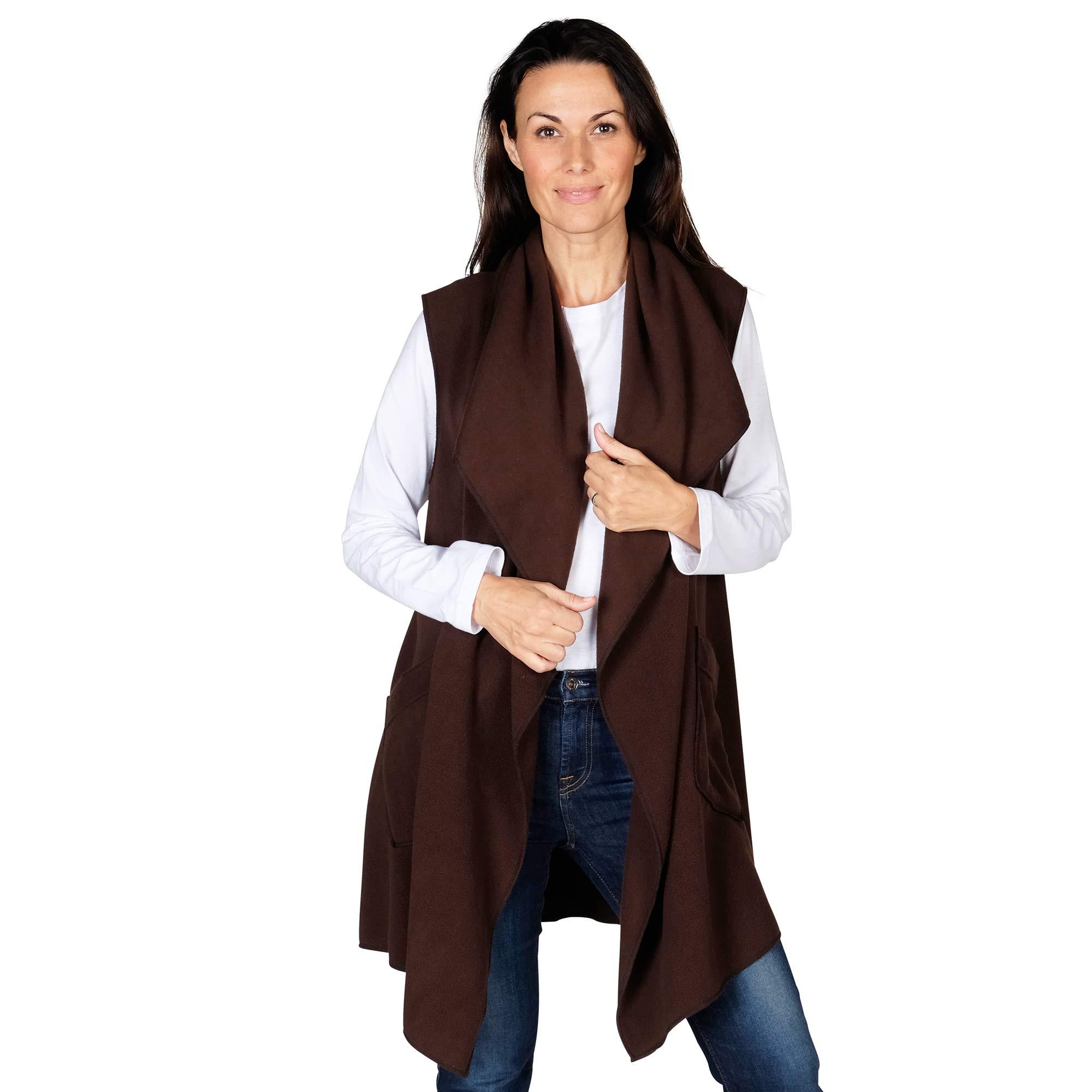Le Moda 女士口袋开襟羊毛背心开衫