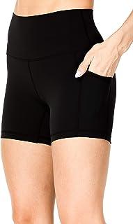 Sunzel 女士高腰瑜伽短裤,收腹运动锻炼短裤,带侧口袋
