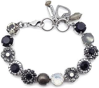 Mariana 法式丝绸施华洛世奇水晶银色手镯黑色灰白色混合马赛克 M126