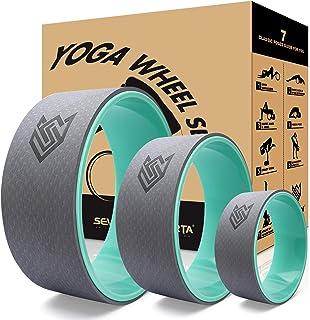 Seven Sparta 瑜伽轮套装3件装瑜伽后背滚轮,可用于拉伸、背痛、后弯和身体重量锻炼(13 英寸、10.5 英寸、6.5 英寸)蓝*