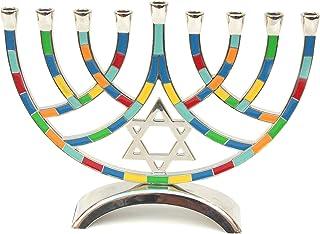 优质 Judaica 现代涂漆烛台与犹太星星,多色