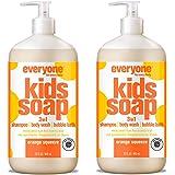 Everyone 三合一儿童肥皂 - 洗发水、沐浴露和泡沐浴液 - 橙色挤压,32 盎司,2 只装