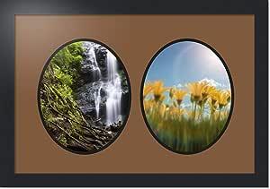 ArtToFrames 拼贴照片框双垫,带 2 个开口,黑色缎框 喷砂机 2-8x10 Double-Multimat-436-767/89-FRBW26079