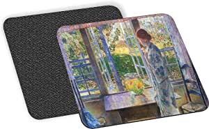 Rikki Knight Childe Hassam Art the Goldfish Window 设计-柔软方形啤*杯垫(2 件套),多色