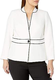 Kasper 女士长袖纹理绉绸无领 1 粒扣镶边夹克