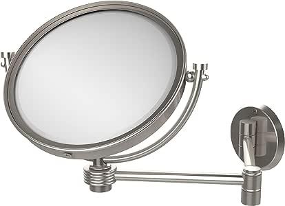 Allied Brass 20.32cm 壁挂式扩展化妆镜 5X 放大 带浮雕装饰 亮灰色(Satin Nickel) WM-6G/5X-SN
