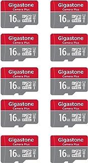 Gigastone 16GB 10-Pack Micro SD 卡,相机+ 90MB/s,全高清视频,U1 C10 Class 10 Micro SDHC UHS-I 内存卡,带 MicroSD 转 SD 适配器