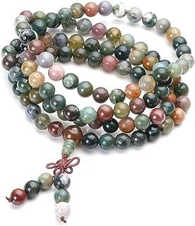 JOVIVI 西藏佛教天然印度玛瑙宝石 8mm 108 祈祷玛珠手链项链