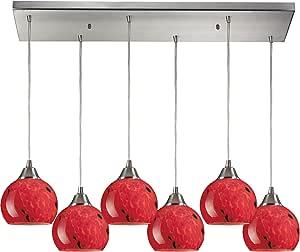 Elk 101-6RC-FR 30 x 9 英寸梅拉 6 灯吊坠带火红色玻璃灯罩,缎面镍表面