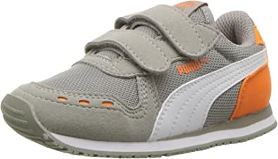 PUMA Kids' Cabana Racer 网状魔术贴休闲鞋 Rock Ridge-puma White-vibrant Orange 1 M US 儿童
