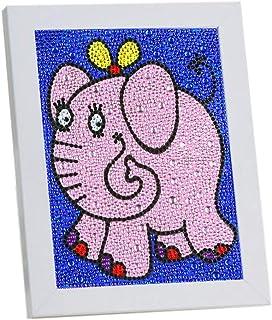 VVEEWUU Easy 5D 钻石绘画套装带框架儿童全钻画数字套件儿童礼品(大象)