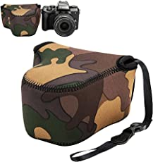 "JJC 4.4""x2.7""x4.4"" 相机包适用于佳能 M100 M6 M10 M3 M2 相机机身 + EF-M 15-45mm 镜头/11-22mm/18-55mm 镜头/适用于 Nikon 1 J5 J4 J3 J1 + 10-100mm/30-110mm 镜头 Coolpix L820 L810-迷彩"