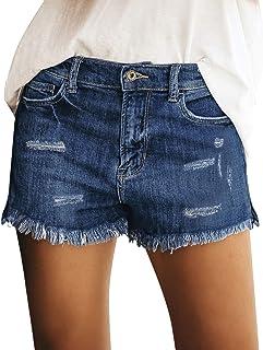 GRAPENT 女式高腰牛仔短款休閑破洞折疊下擺牛仔短褲