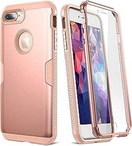 YOUMAKER iPhone 8 Plus & iPhone 7 Plus 手机壳,全身坚固,内置屏幕保护膜,重型保护纤薄防震保护套,适用于 Apple iPhone 8 Plus (2017) 5.5 英寸 玫瑰金/粉色