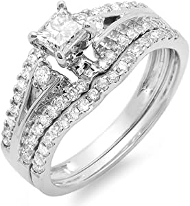 1.00 Carat (ctw) 14K White Gold Princess & Round Diamond Bridal Wedding Band Set 1 CT (Size 8)
