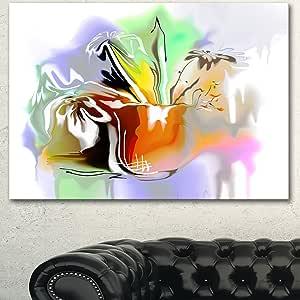 """抽象花卉超大花卉墙壁艺术 白色 20x12"""" PT15000-20-12"""