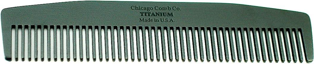 芝加哥 Comb Model 3 黑色鈦,美國制造,超光滑,堅固,輕便,防靜電,5.5 英寸。 (14 cm) 長,中細罐,終極日常使用,口袋,旅行梳,純美國鈦