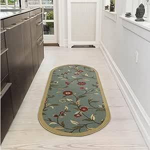 Ottohome 系列花卉花园设计防滑(防滑)橡胶衬背现代小地毯